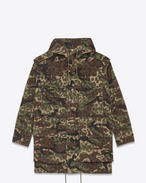 Oversized Parka in Khaki and Black Camouflage Printed Cotton Gabardine