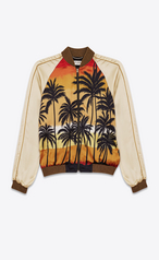 Saint Laurent Teddy Jacket In Beige Red Yellow And