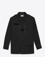 SAINT LAURENT Casual Jackets U Military Parka in Black Cotton and Linen Gabardine f