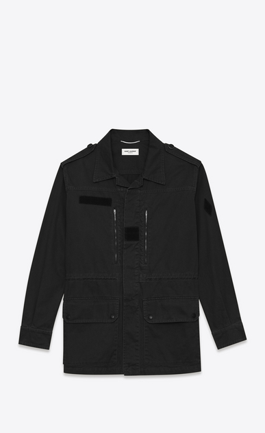 SAINT LAURENT Casual Jackets U Military Parka in Black Cotton and Linen Gabardine a_V4