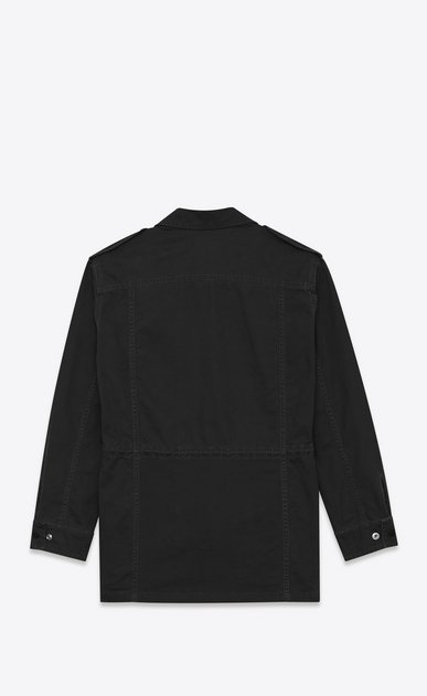 SAINT LAURENT Casual Jackets Man Military Parka in Black Cotton and Linen Gabardine b_V4