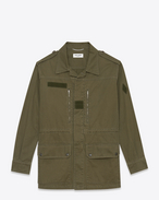 Military Parka in Khaki Cotton and Linen Gabardine