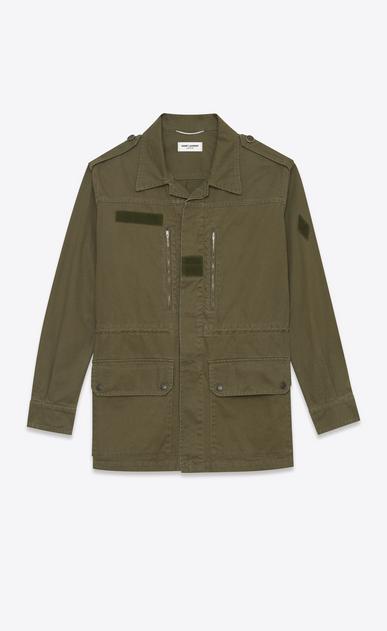 SAINT LAURENT Casual Jackets U Military Parka in Khaki Cotton and Linen Gabardine a_V4