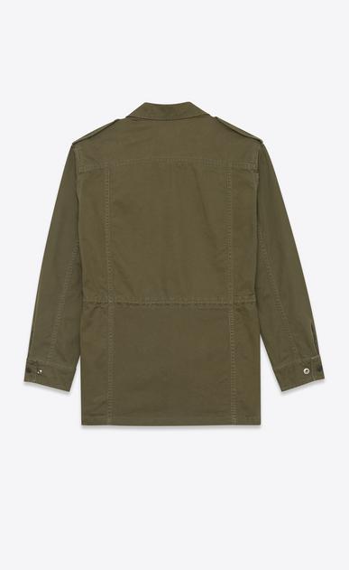 SAINT LAURENT Casual Jackets U Military Parka in Khaki Cotton and Linen Gabardine b_V4