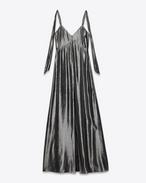 Abito lingerie con spalle annodate argento scuro in seta e poliestere lamé.