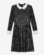 SAINT LAURENT Dresses D PENSIONNAIRE Dress in Black Silk Crêpe and Sequins f