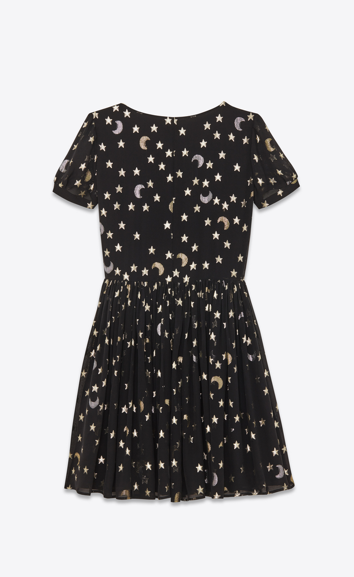 Saint Laurent Schoolgirl Dress In Black Silver And Gold