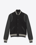 SAINT LAURENT Casual Jackets D Classic Teddy Jacket in Black Virgin Wool, Leather and Polyamide f