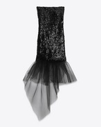 Ruffled Hem Tube Mini Dress in Black Sequins and Tulle