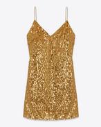Miniabito lingerie con spalline sottili oro con paillette