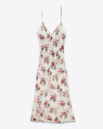 Mid-Length Lingerie Dress in White and Pink Grunge Rose Viscose Crêpe