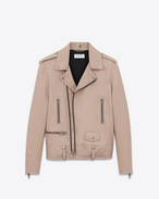 SAINT LAURENT Leather jacket D Classic Motorcycle Jacket in Powder Pink Washed Leather f