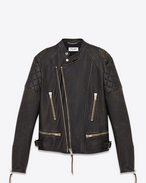 SAINT LAURENT Leather jacket D Motocross Jacket in Black and Beige Leather f