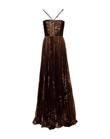 Фото 2 - Женское длинное платье  темно-коричневого цвета
