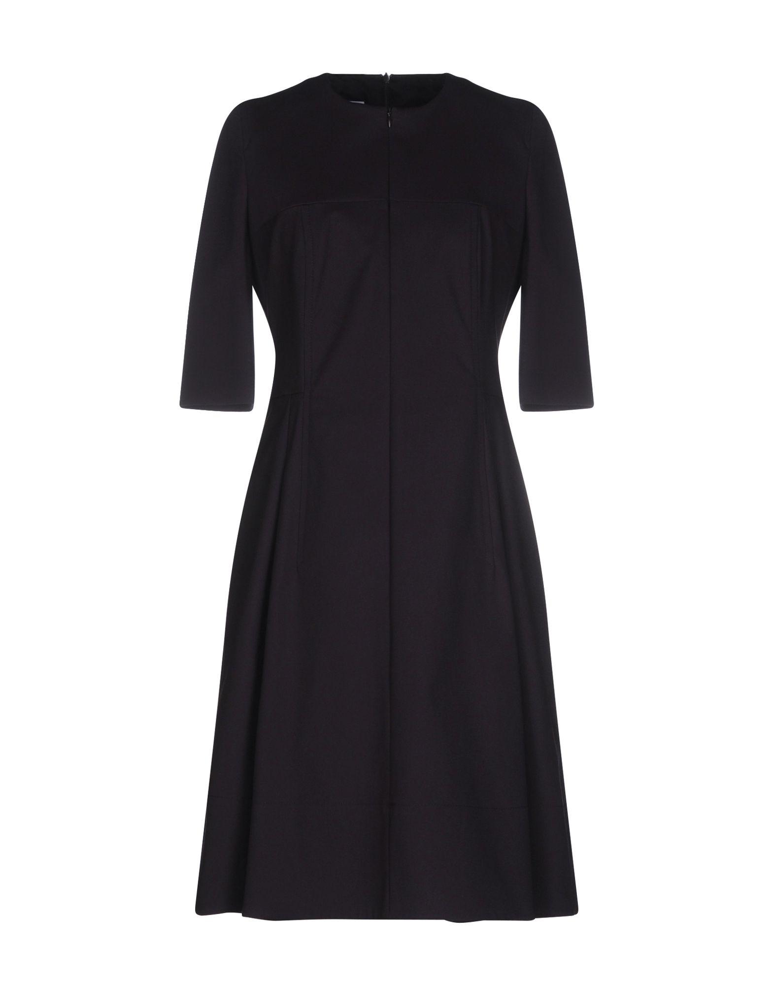 AKRIS PUNTO Short dresses. plain weave, solid color, round collar, long sleeves, no appliqués, no pockets, lined interior, rear closure, zip closure, stretch, trapeze dress. 96% Cotton, 4% Elastane