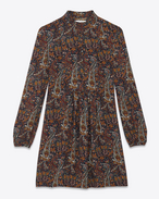 SAINT LAURENT Robes D Mini robe folk en crêpe de viscose à imprimé cachemire vintage multicolore f