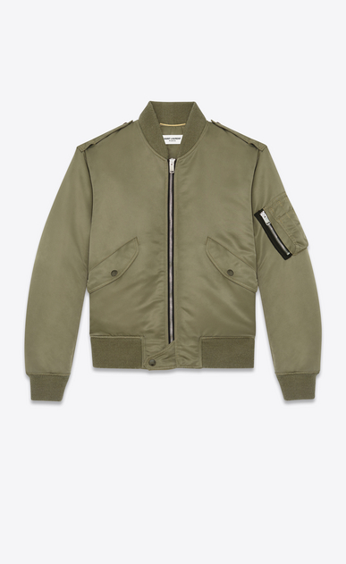 SAINT LAURENT Casual Jackets D Classic Bomber Jacket in Khaki Nylon a_V4