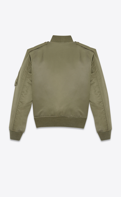 SAINT LAURENT Casual Jackets Woman bomber jacket in khaki nylon b_V4