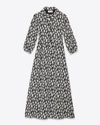 SAINT LAURENT LONG DRESSES D 70's Midi Shirt Dress in Black and Off White Star Printed Viscose f