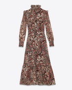SAINT LAURENT LONG DRESSES D Midi Folk Dress in Shell, Red and Black Leopard Printed Silk Georgette f