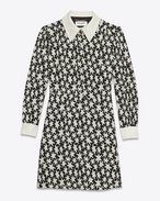 SAINT LAURENT Dresses D schoolgirl mini dress in black and off white star printed viscose f