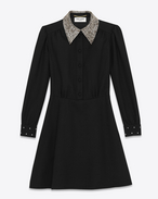 SAINT LAURENT Dresses D Schoolgirl Mini Dress in Black Wool Sablé and Clear Crystal f