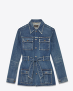 SAINT LAURENT Casual Jackets D 70's Army Coat in Broken Blue Denim f