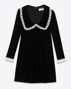 SAINT LAURENT Robes D Mini robe babydoll à col volanté en velours cupro noir f