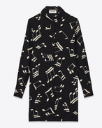 Shirt Dress in Black and Off White Musical Note Printed Viscose