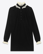Stand Up Lace Collar Mini Dress in Black Cupro Velour
