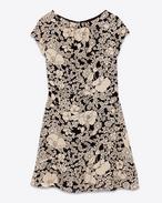 Cap Sleeve Mini Dress in Black and Ivory 70's Flower Printed Viscose Crêpe