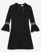 SAINT LAURENT Robes D Mini robe babydoll à nœud en acrylique et sablé de viscose f