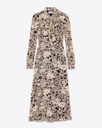 SAINT LAURENT LONG DRESSES D Lavaliere Collar Midi Dress in Black and Ivory 70's Flower Printed Viscose Crêpe f
