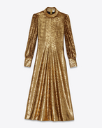 70's Fold-Over Collar Midi Dress in Gold Polyester and Silk Lamé