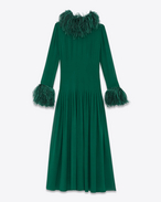 SAINT LAURENT LONG DRESSES D Pintucked Gown in Green Silk and Ostrich Feathers f