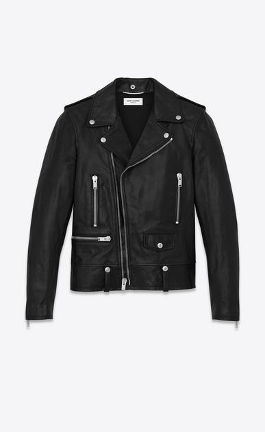 SAINT LAURENT Leather jacket U Classic Motorcycle Jacket in Black Washed Leather a_V4