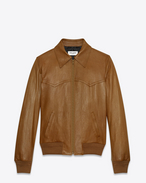 SAINT LAURENT Leather jacket U western 70's flight jacket in cognac leather f