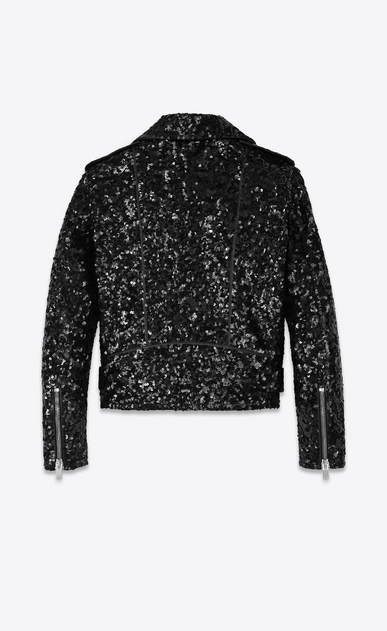 SAINT LAURENT Leather jacket U Classic Motorcycle Jacket in Black Leather and Sequins b_V4