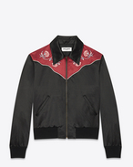 Western Bomber Jacket in Black and Burgundy Cotton and Rayon