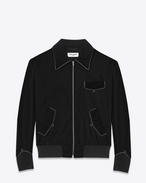 SAINT LAURENT Giacche Casual U Giubbotto Teddy Military nero in viscosa e velour cupro f