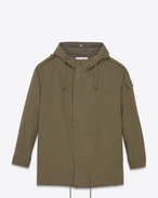 SAINT LAURENT Casual Jackets U Military Parka in Military Khaki Cotton Twill f