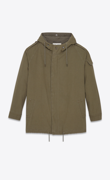 SAINT LAURENT Casual Jacken U Army-Parka aus militärisch khakifarbenem Baumwolltwill a_V4