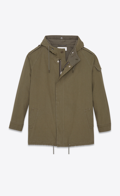 SAINT LAURENT Casual Jackets U Military Parka in Military Khaki Cotton Twill b_V4