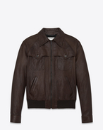 SAINT LAURENT Leather jacket U 70's TEDDY Jacket in Brown Leather f