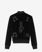 SAINT LAURENT Casual Jackets U TEDDY Musical Note Studded Jacket in Black Raw Cotton Velvet and Silver-Toned metal f
