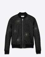Oversized TEDDY Studded Jacket in Black Leather and Silver-Toned Metal