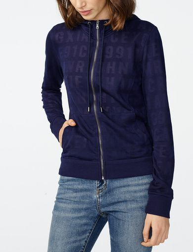ARMANI EXCHANGE Burnout Logo Hoodie Woman front