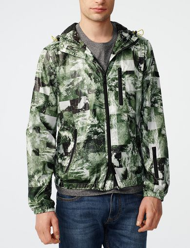 ARMANI EXCHANGE Aerial Camo Zip-Up Hoodie Man front