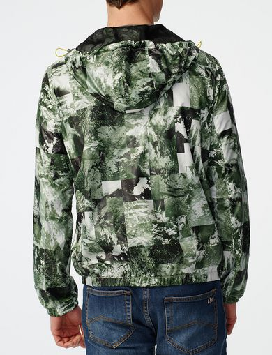 ARMANI EXCHANGE Aerial Camo Zip-Up Hoodie Man retro
