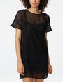 ARMANI EXCHANGE Sheer Lace Tee Dress Long-sleeved dresses D f